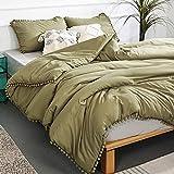 YIRDDEO Olive Green Queen Ball Pom Fringe Design Comforter Set 3pcs, Boho Aesthetic Luxurious Full Bedding Set, Vintage Ultra Soft Microfiber Comforter Set (1 Comforter, 2 Pillowcases)