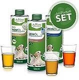 AniForte Barf-Öl Set 3 mit je 500ml Leinöl, Hanföl und Lachsöl für Hunde & Katzen – Naturprodukt, Kaltgepresst, Ohne Zusätze, Barf Öl Omega 3 Fettsäuren, Futter Zusatz, Recyclebare Verpackung ohne BPA