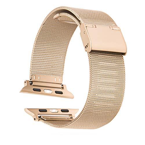 Cinturino Apple Watch 44mm 38mm 42mm 40mm Smartwatch Bracciale Ricambio Compatibile Serie 6 5 4 3 2 1 SE Regolabile Universale Donna Uomo Traspirante Maglia Acciaio Inossidabile (38/40mm Champ. Gold)