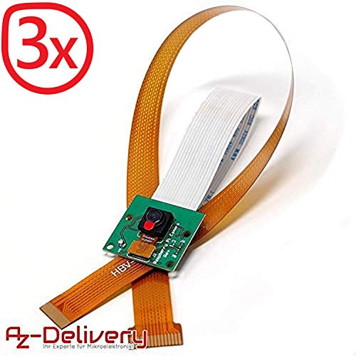 AZDelivery 3 x Camera per Raspberry Pi Modulo e cavo flexzero 30cm fotocamera con eBook