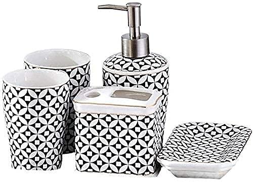 Accesorios de baño Conjunto Dispensador de jabón Dispensador de jabón Set de baño cerámica de 5 Piezas Conjunto de Cepillo de Dientes Dispensador de líquidos Accesorios de baño COC