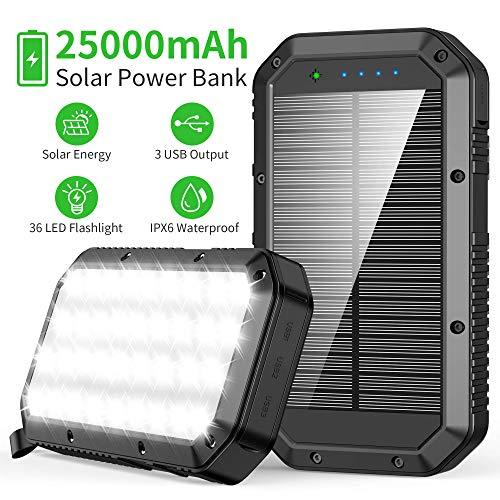 Solar Powerbank 25000mAh, Solar Ladegerät mit 3 Ausgängen, Hohe Kapazität Externer Akku Tragbares Ladegerät Akkupack mit 36 LED Taschenlampe, Power Bank Kompatibel mit Smartphones, Tablets und mehr