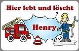 Türschild Namensschild Feuerwehr für die Kinderzimmertür personalisiert Alternative zu...