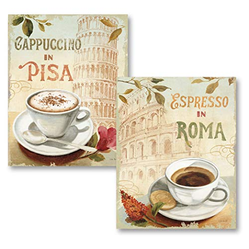 Gango Home Décor Vintage-Style Roma Colliseum and Leaning Tower of Pisa Coffee Set by Lisa Audit; Kitchen Decor; Two 11x14in Poster Prints