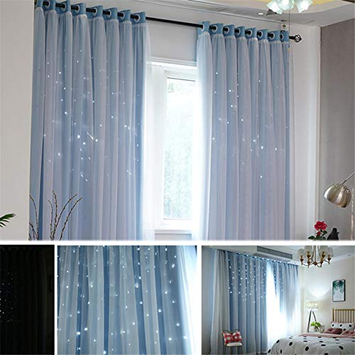 Double Layer Curtains with Stars Gauze Hollowed Out Shading Starry Finished Products Modern Nordic Style Romantic Decorative Bay Window Curtain for Bedroom Living Room Home Decor