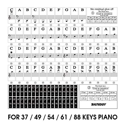 Find Bargain BIGTEDDY – Piano Stickers for 37/49/54/61/88 Key Keyboards – Tranparent Removable Labels for Kids Beginner Learning Music Note Suitable all Brands