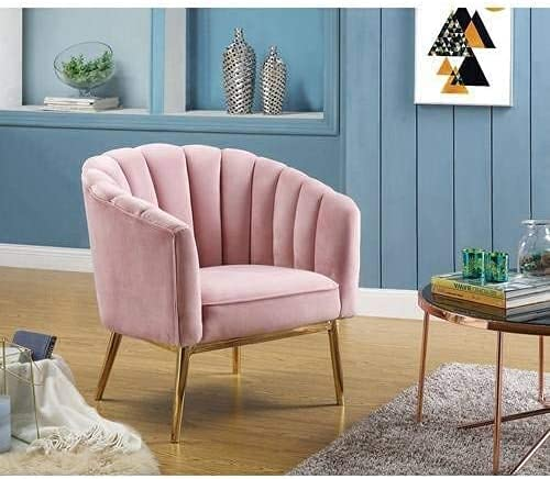 Genuine Limited price sale Living Room Velvet Sofa Gold-Fin with Chair Contemporary