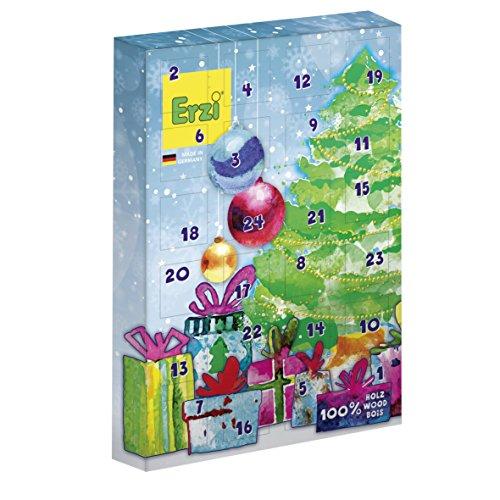 Erzi Adventskalender mit 30 Kaufmannsladen-Holzartikel und 1 Körbchen als Inhalt