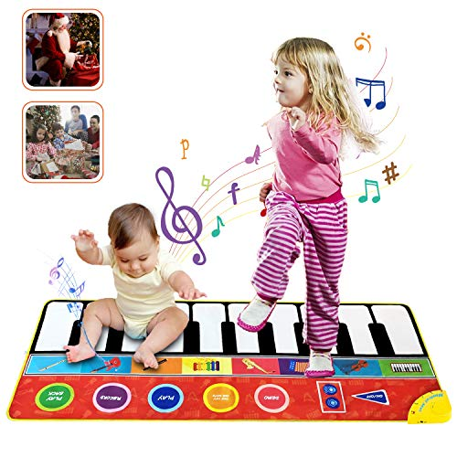 Jogotoll Musical Piano Mat Toy, Kids 58.2'' X 23.6''Anti-Skid Piano Keyboard Play Mat Portable Early Educational Toys, 8 Selectable Instruments Build-in Speaker \u0026amp; Recording for Toddlers Boys Girls