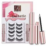 Magnetic Eyelashes With Magnetic Eyeliner, Magnetic Eyelashes Kit False Lashes 5 Style With Tweezers-No Glue Need