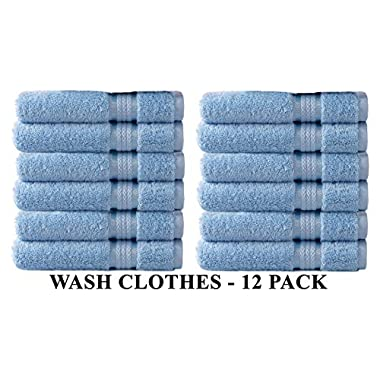Cotton Craft 12 Pack - Ultra Soft Extra Large Wash Cloths 12x12 Light Blue - 100% Pure Ringspun Cotton - Luxurious Rayon trim - Ideal for Daily Use - Each Towel Weighs 2 Ounces