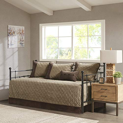 Madison Park Daybed Cover Set-Trendy Design All Season Luxury Bedding with Bedskirt, Matching Shams, Decorative Pillow, 75