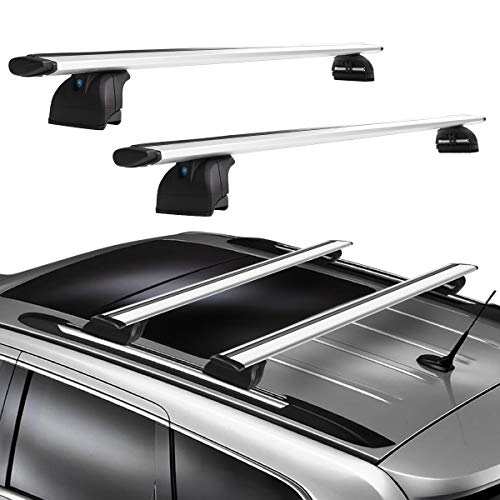 YITAMOTOR Roof Rack Cross Bars Compatible with 2011-2019 Jeep Grand Cherokee Model with Grooved Side Rails, Aluminum Crossbars Rooftop Luggage Cargo Bag Kayak Canoe Bike Carrier
