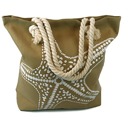 Fish Around , Borsa da spiaggia  Multicolore SAGE GREEN/BEIGE