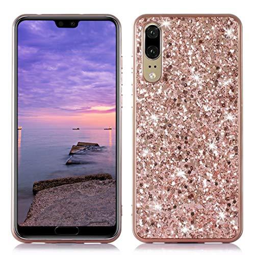 DasKAn Estuche de teléfono Brillo galvanizado para Samsung Galaxy A7 2018, Costosa Brillar Brillante Lentejuelas Enchapado Funda de Silicona Parachoques de Goma Cubierta Trasera Suave TPU,Oro Rosa