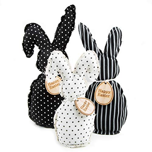Logbuch-Verlag 3 große Osterhasen Figuren aus Stoff 17-27 cm Happy Easter schwarz weiß Hasen Osterdeko zum Hinstellen - Ostergeschenk