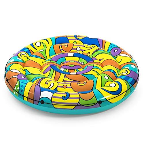 BESTWAY 43195 - Isla Hinchable Pop Art Ø188 cm Diseño Multicolor Años 50 con Cuerda de Agarre, Válvulas de Seguridad, Agarraderas y Parche de Reparación Incluido