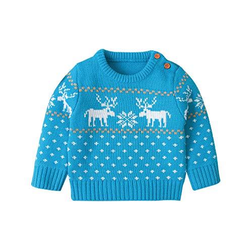 nvIEFE Jungen hässliche Weihnachtsstrickjacke Pullover Langarm Rundhalsausschnitt Strickpullover Weihnachten Rentier Schneeflocke Kleidung (Blauer See, 12-18M)