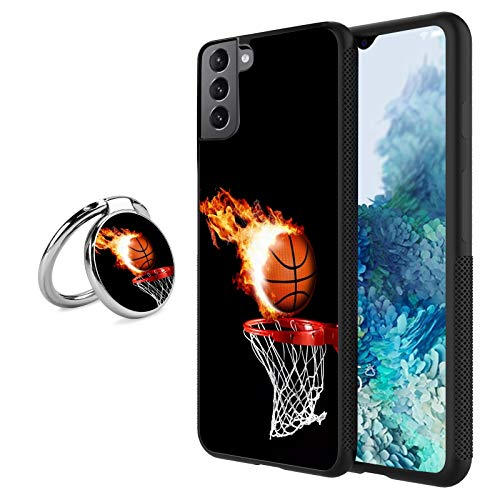 Black Samsung Galaxy S21 Plus Case with Ring Holder Stand Fire Basketball Pattern 360 Rotation Ring Grip Kickstand Soft TPU and PC Anti-Slippery Design Protection Bumper for Samsung Galaxy S21 Plus