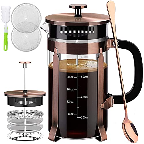 French Press Coffee Maker (34 oz) with 4 Filters - 304 Durable Stainless Steel, Heat Resistant Borosilicate Glass Coffee Press, BPA Free, Brown