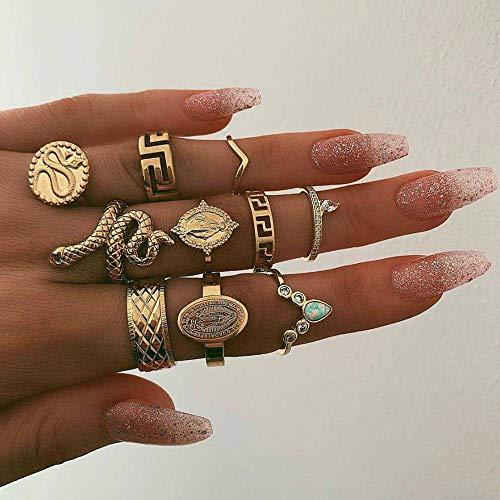 Edary - Set di anelli a forma di serpente vintage, con pietre preziose, per donne e ragazze (10 pezzi)