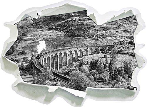 Glenfinnan Eisenbahnviadukt in Schottland Kunst B&W, Papier 3D-Wandsticker Format: 62x45 cm Wanddekoration 3D-Wandaufkleber Wandtattoo