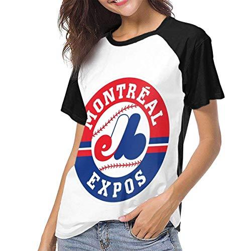 Ovilsm Damen Montreal Expos Womans Women's Baseball Short Sleeves Comfortable Short Sleeve Loose Tshirts