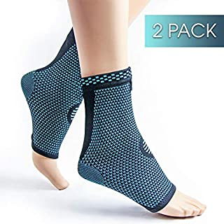 Keenhealth Ankle Compression Sleeve (Pair) - Ankle Support for Men and Women - Recovery from Achilles Tendonitis,  Sprains and Arthritis - Achilles Tendon Support for Tennis,  Running and Volleyball