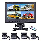 Vehicle Backup Camera - Camecho 9 Inch 4 Split Monitor Front View Rear View Camera 18 IR Night Vision Waterproof Auto Camera with 2x33 ft and 2x65ft Cables for RV, Trailer, Bus,Trucks
