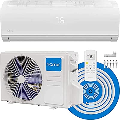 hOmeLabs Split Type Inverter Air Conditioner with Heat Function — 12,000 BTU 230V — Low Noise, Multimode Air Conditioning with a Washable Filter, Stealth LED Display, and Backlit Remote Control