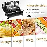 Anescra Allesschneider Elektrisch mit 170mm rostfreies Edelstahlmesser, 0-15mm einstellbare Dicke, abnehmbares Design, Brotschneidemaschine für den Heimgebrauch für Aufschnitt/Käse/Brot/Gemüse, 150W - 5
