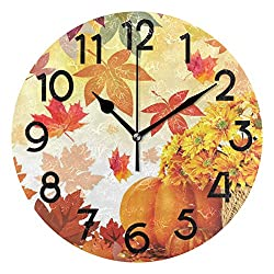 Wamika Sunflower Maple Leaves Pumpkin Autumn Fall Flowers Wall Clock Silent Non Ticking Round Decorative,Happy Thanksgiving Day Harvest Give Thanks Clocks 10 Inch Battery Operated Quartz Home Decor