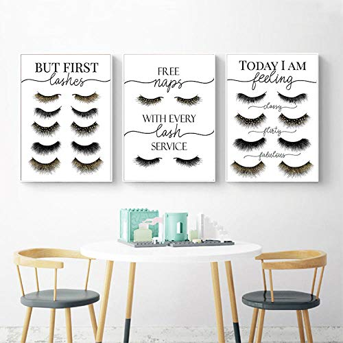 FGJF Eyelash Extensions Posters and Prints Esthetician Gifts Eyelashes Makeup Wall Art Canvas Painting Pictures Beauty Salon Decor-50X70Cmx3 Pcs Frameless