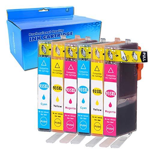 ouguan 6X Compatible ricambio per HP 934X L 935X L Cartucce d' inchiostro ad alta capacità Compatibile con for HP Officejet Pro 68306230/6230ePrinter 6835HP Officejet 682068126815