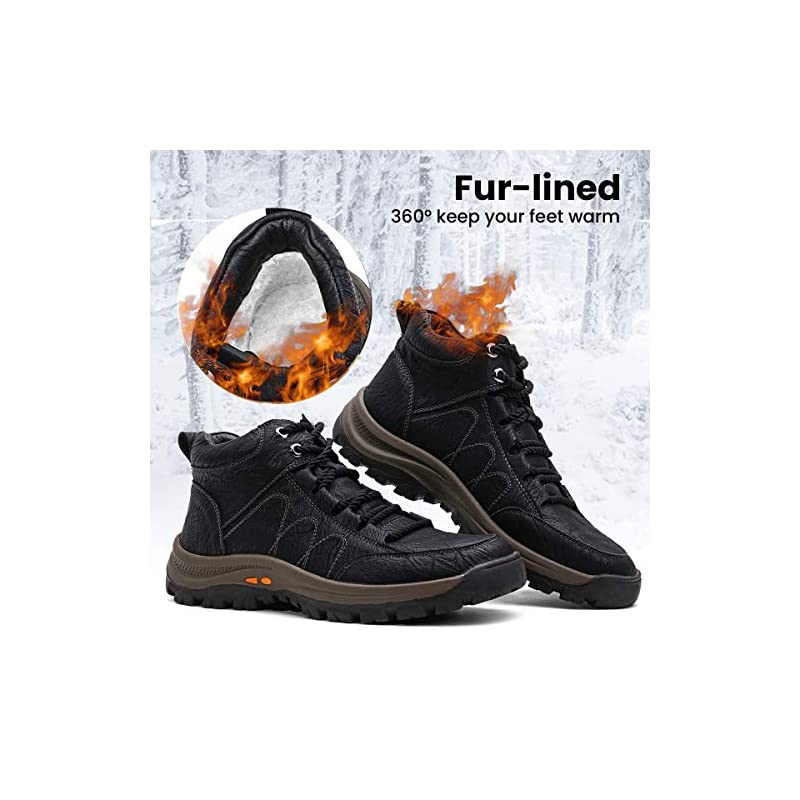 gracosy Men High Rise Boots Outdoor Lace Up PU Leather Ankle Boots Winter Fur Lined Warm Snow Casual Boots Hiking…