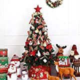 FTFTO Living Equipment with Led String Lights Ornaments Plastic Stand Party Home Office Xmas Tree Decorated Christmas Tree Red 150cm Color : Golden Size : 5ft(150cm)