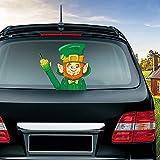 MIYSNEIRN Rear Wiper Decal Irish Hat Beard Green Leprechaun Waving Wiper Decals for Rear Window,Waterproof Rear Windshield Wiper Decal,Attaches to Wiper Blade Decal Tags for Car Decoration