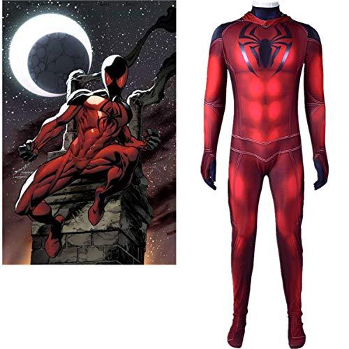 Scarlet Spiderman BodySuit Lycra Spandex Onesies Disfraz de Halloween Scarlet Superhroe Cosplay Etapa Traje, Unisex Adultos Nios Conjuntos Siamese Tight Morph Attire Fantasa Vestido,Men XXL