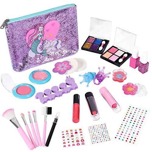 Kastiny Maquillage pour Enfant Fille, 27PCS Coffret de Maquillage Non Toxique Sets Cosmétiques Lavable avec Sac Sirène et Vernis à Ongles, Cadeau d'anniversaire