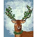 Xofjje Pintar por Numeros_Cualquier Animal_Adultos Niños DIY Pintura por Números_con Pinceles y Pinturas_40x50cm_Sin Marco