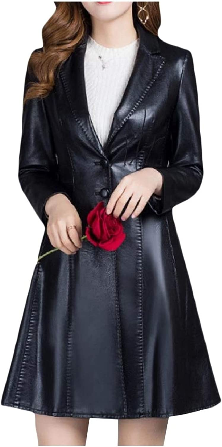Cobama Women Single Breasted Smocked Waist Leather Trench Jacket Clothes