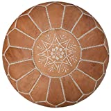 Premium Moroccan Leather Pouf - Handmade - Delivered Stuffed - Ottoman, Footstool, Floor Cushion (Natural)