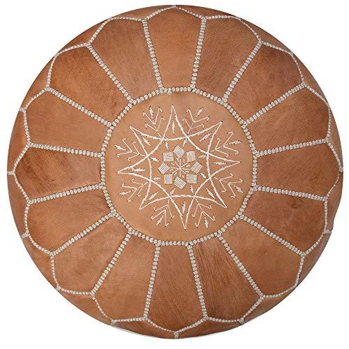 Puf marroquí marrón Natural de cuero auténtico hecho a Mano - Cojín de Suelo, Otomano