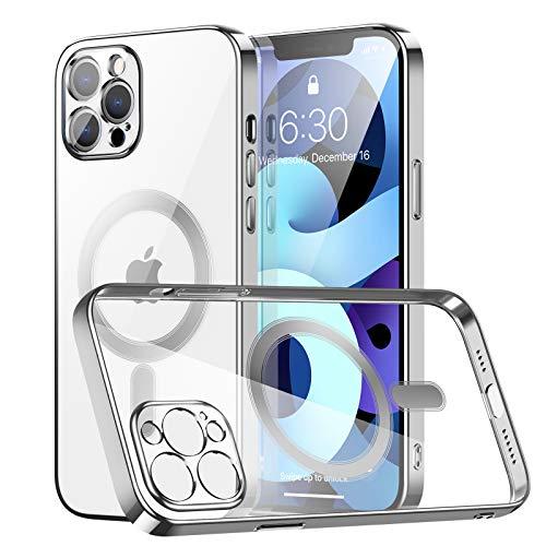 AMZLIFE Transparent Magnetische Hülle Kompatibel mit iPhone 12 Pro Max (6.7