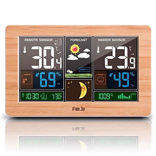 VORRINC Wetterstation Funk mit Farbdisplay, Digital Thermometer Hygrometer Innen und Außen Raumthermometer Hydrometer Feuchtigkeit, DCF Empfangssignal Funkuhr, Wettervorhersage, Mondphase (Wood)