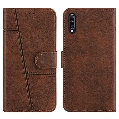Grandcaser Capa para Galaxy A70 ultrafina, macia, magnética, com compartimento para cartão de couro bovino artificial, capa protetora à prova de choque para Samsung Galaxy A70 de 6,7 polegadas - Marrom