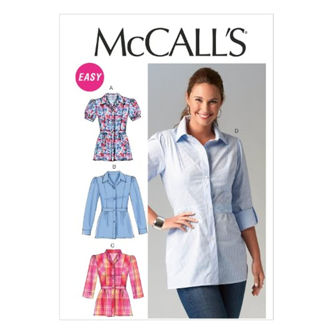 McCall Pattern Company M6898 Misses' Shirts Sewing Template, Size A5 (6-8-10-12-14)