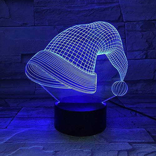 Yujzpl 3D-Illusionslampe LED-Nachtlicht, USB-betrieben 7 Farben blinkend Touch-Schalter Schlafzimmer Dekoration für Kinder Weihnachtsgeschenk[Energieklasse A +++]-Weihnachtsmütze