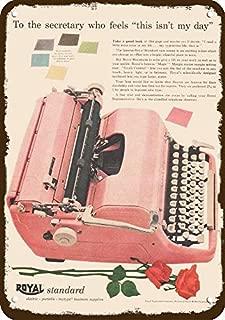 Yilooom 1954 Royal Standard Pink Typewriter Vintage Look Replica Metal Sign 7