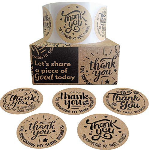 Thank You Stickers Small Business | 1.5' Small Business Stickers Thank You for Your Business Stickers 500 PCs 5 Designs | Thank You Sticker Label for Small Business Supplies, Product Bags for Business